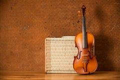 Uitstekende viool en bagage Stock Afbeeldingen
