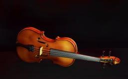 Uitstekende viool op zwarte achtergrond Stock Afbeeldingen