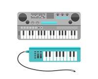 Uitstekende vlakke het ontwerp vectorillustratie van het synthesizer muzikale materiaal en klassiek wit zwart muzikaal toetsenbor royalty-vrije illustratie