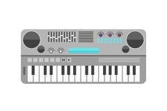 Uitstekende vlakke het ontwerp vectorillustratie van het synthesizer muzikale materiaal en klassiek wit zwart muzikaal toetsenbor vector illustratie