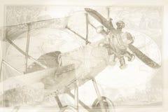Uitstekende vliegtuig en kaart royalty-vrije illustratie