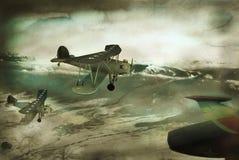 Uitstekende vliegtuigenprentbriefkaar Stock Fotografie