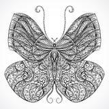 Uitstekende vlinder met bloemen abstract ornament Zwart-witte vector Stock Foto