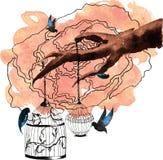 Uitstekende vogelkooien die van de takken van een oude boom, Fr hangen royalty-vrije illustratie