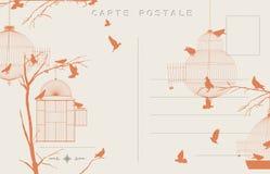Uitstekende vogelsprentbriefkaar Royalty-vrije Stock Afbeeldingen