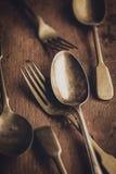 Uitstekende vork en lepel Royalty-vrije Stock Fotografie