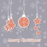 Uitstekende Vrolijke vector retro de kleurenvakantie van de Kerstmisprentbriefkaar Stock Afbeelding