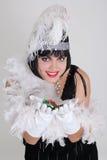 Uitstekende vrouw met casinospaanders Royalty-vrije Stock Foto's
