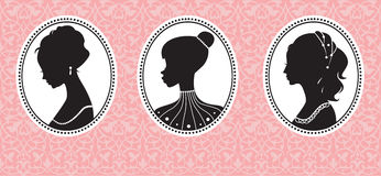 Uitstekende vrouwelijke silhouetten Stock Afbeelding