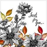 Uitstekende Waterverf en inktgroetkaart met Bloeiende Bloemen en bladeren Enkel voor u met Plaats voor Uw Tekst Bladeren stock illustratie