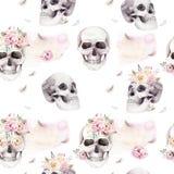 Uitstekende waterverfpatronen met schedel en rozen, wildflowers, Hand getrokken illustratie in bohostijl Bloemenschedel Stock Fotografie