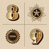 Uitstekende westelijke van de de brievendoopvont van het aantallenalfabet het ontwerpvector Stock Afbeeldingen