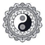 Uitstekende Yin en Yang in Mandala Stock Afbeeldingen