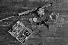 Uitstekende zalmvlieg visserijvoorbereiding Royalty-vrije Stock Foto
