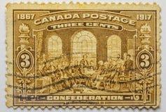 Uitstekende zegel CANADA drie centen 1917 Beperkte Reeks stock afbeeldingen