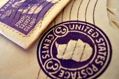 Uitstekende zegels op enveloppen Royalty-vrije Stock Foto
