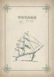 Uitstekende zeilboot retro grens die op oud document trekken Stock Afbeeldingen