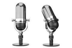 Uitstekende zilveren microfoon Royalty-vrije Stock Foto's