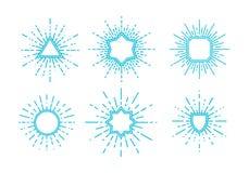 Uitstekende zonnestraal vectorillustratie Royalty-vrije Stock Foto