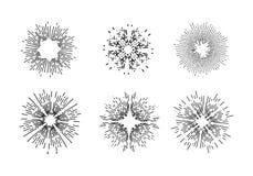 Uitstekende zonnestraal vectorillustratie Royalty-vrije Stock Foto's