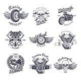 Uitstekende Zwart-wit Geplaatste Motorfietsetiketten royalty-vrije illustratie