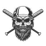 Uitstekende zwart-wit schedel in honkbalhelm stock illustratie