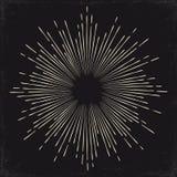 Uitstekende zwart-wit zon, zonnestraal, starburst Vectorillustratie Stock Afbeelding