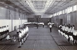Uitstekende zwart-witte foto RAF Hednesford, Stafford, Britse jaren '50opname stock afbeeldingen