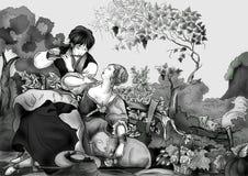 Uitstekende zwart-witte gravure Een idyllisch beeld van het leven royalty-vrije illustratie