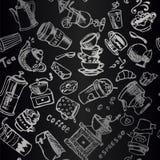 Uitstekende zwart-witte illustra van het koffie naadloze vectorornament stock illustratie
