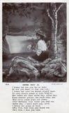 Uitstekende zwart-witte prentbriefkaar met 'Één of andere Dag 'gedicht die dame met bloemen tonen en bonnet dragen royalty-vrije stock afbeelding