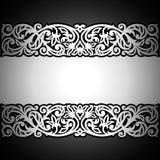 Uitstekende zwarte achtergrond, antiek, victorian zilveren ornament Royalty-vrije Stock Fotografie