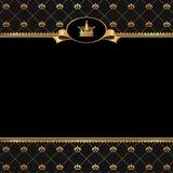 Uitstekende zwarte achtergrond met kader van gouden elem Stock Afbeeldingen