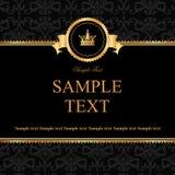 Uitstekende zwarte damastachtergrond met kader van gouden elementen Royalty-vrije Stock Foto's
