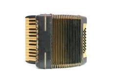 Uitstekende zwarte harmonika die op witte backgrou wordt geïsoleerdh royalty-vrije stock fotografie