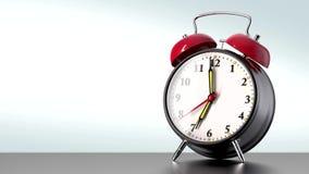 Uitstekende zwarte wekker op witte achtergrond Het concept van de tijd royalty-vrije illustratie