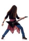 Uitvoerder met een elektrische gitaar Stock Afbeeldingen