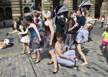 Uitvoerders bij het Festival van Edinburgh stock afbeeldingen