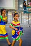 Uitvoerders met kleurrijke en gedetailleerde kostuums stock fotografie