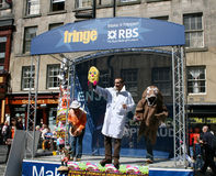 Uitvoerders op stadium Edinburgh stock foto's