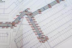 Uitvoerend topografisch onderzoek van de bouw van intra-kwart passages, kaart royalty-vrije stock foto's