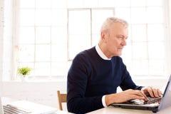 Uitvoerende bejaarde zakenman die aan laptop in het bureau werken royalty-vrije stock afbeeldingen