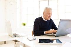 Uitvoerende bejaarde zakenman die aan laptop in het bureau werken stock foto's