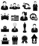 Uitvoerende geplaatste werknemerspictogrammen Royalty-vrije Stock Fotografie