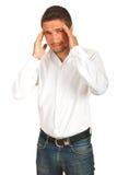 Uitvoerende mens met hoofdpijn Royalty-vrije Stock Foto