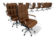 Uitvoerende stoel eindeloze rij, 3D Illustratie Stock Afbeeldingen