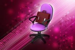 Uitvoerende stoel met aktentas Stock Afbeelding