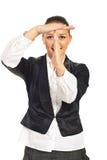 Uitvoerende vrouwenonderbreking voor gezicht Stock Afbeeldingen