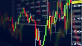 Uitwisselend grafieken met aantallen en beweegt indicatoren Lijst van de indexen van de beursmarkt vector illustratie