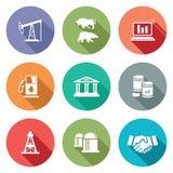 Uitwisseling van gas en olie Geplaatste de industriepictogrammen Vector illustratie Stock Foto's